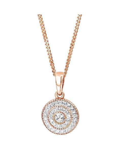 evoke-evoke-sterling-silver-rose-gold-plated-crystal-cluster-pendant-necklace-162-inches