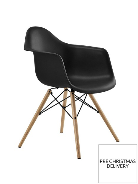 cosmoliving-by-cosmopolitan-mid-century-modern-molded-arm-chair-black
