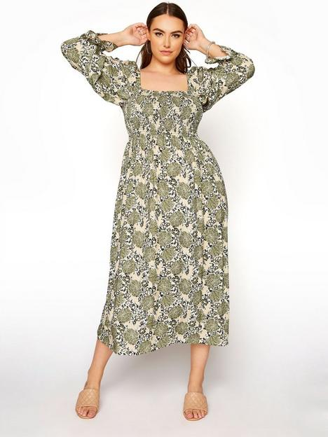 yours-clothing-shirred-front-dress-green
