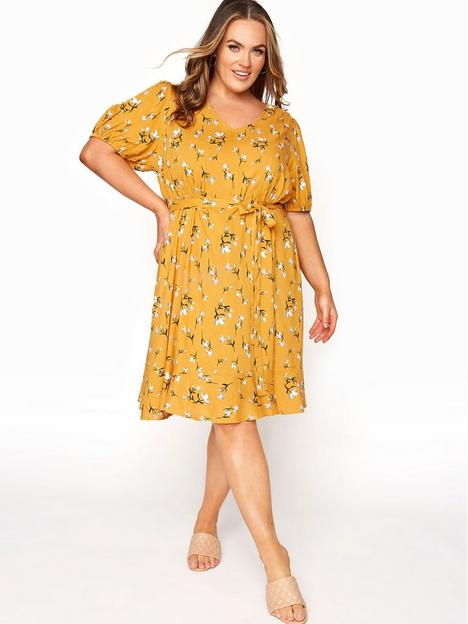 yours-yours-clothing-floral-puff-sleeve-ruffle-hem-tea-dress