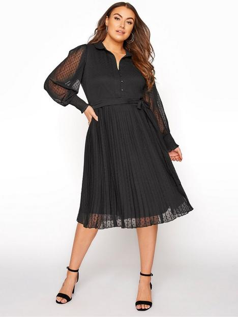 yours-yoursnbspdobby-pleated-shirt-dress-black