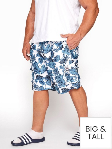 badrhino-hibiscus-printnbspcargo-swim-shorts-whiteblue