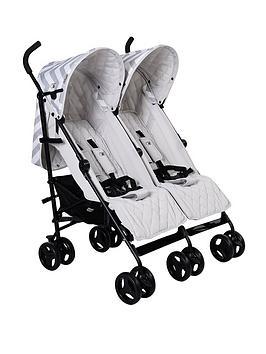 My Babiie Billie Faiers Grey Chevron Twin Stroller