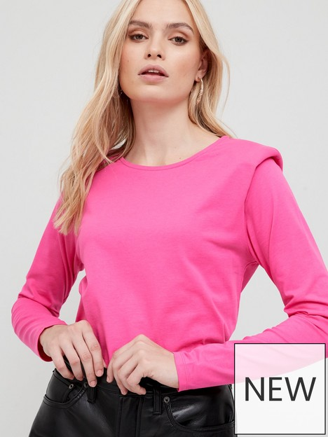 v-by-very-shoulder-pad-long-sleeve-t-shirt-pink