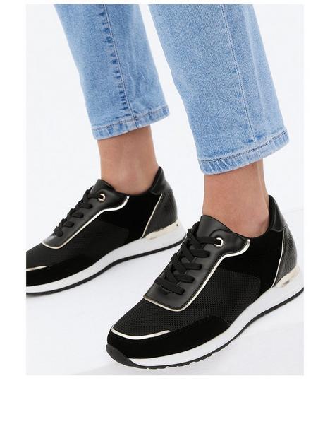 new-look-mixed-material-metallic-trim-trainer-black