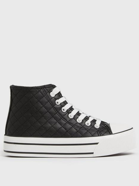 new-look-black-quilted-chunky-high-top-trainers