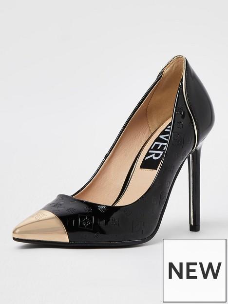 river-island-embossed-court-shoe-black