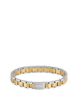 boss-boss-gq-two-tone-stainless-steel-mens-bracelet