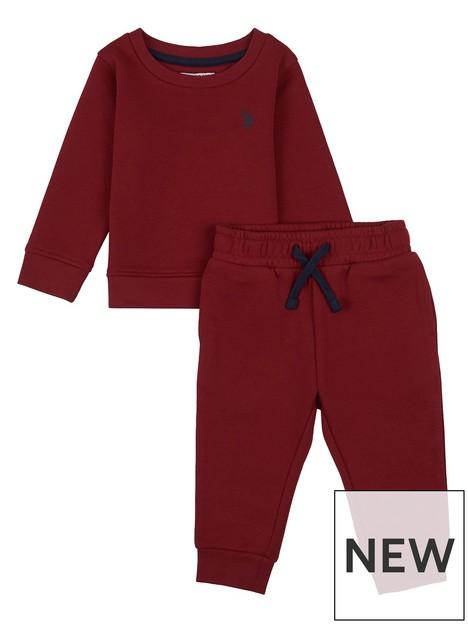 us-polo-assn-toddler-boys-dhm-crew-sweat-jog-set-red