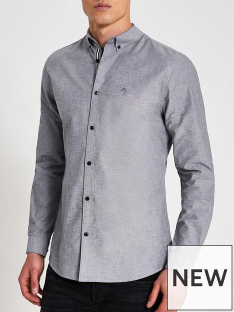 river-island-long-sleeve-oxford-shirt-grey