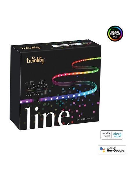 twinkly-line-smart-led-light-strip-15m-extensionnbspmultiple-colour--nbsp100l-rgb-light-linenbspblack-btwifi-gen-ii-ip20