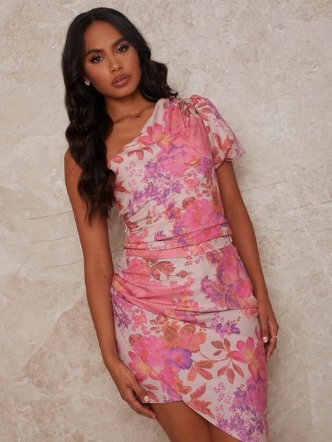 chi-chi-london-one-shoulder-floral-print-top-pink