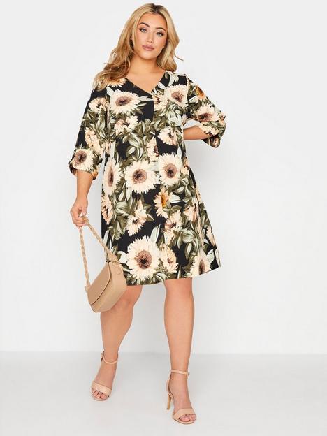 yours-yours-v-neck-pleat-front-sunflower-printnbspdress-blacknbsp