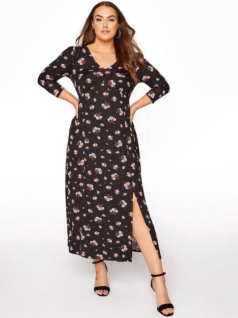 yours-yoursnbspditsy-v-neck-dress-black