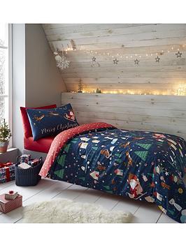 Catherine Lansfield Catherine Lansfield Santas Christmas Wonderland Glow In The Dark Duvet Set Double