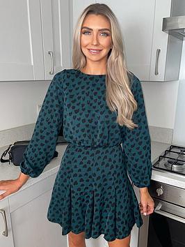 ax-paris-green-heart-print-mini-dress
