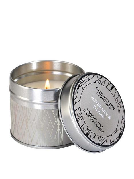 stoneglow-geometric-water-lily-thyme-candle-tin
