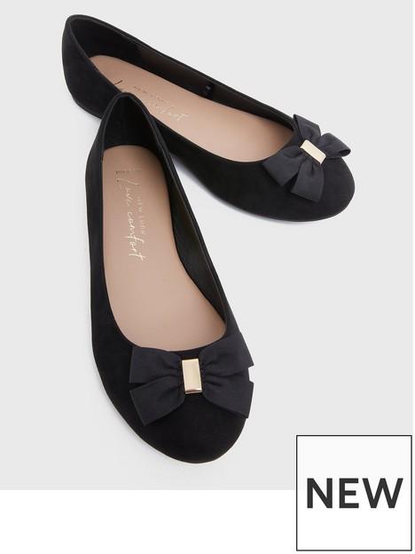 new-look-wide-fitnbspsuedette-bow-ballet-pumps-blacknbsp