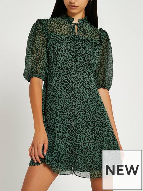 river-island-animal-mini-ruffle-tea-dress-green