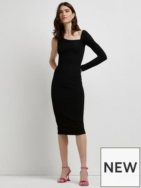 river-island-asymetric-cut-out-dress-black