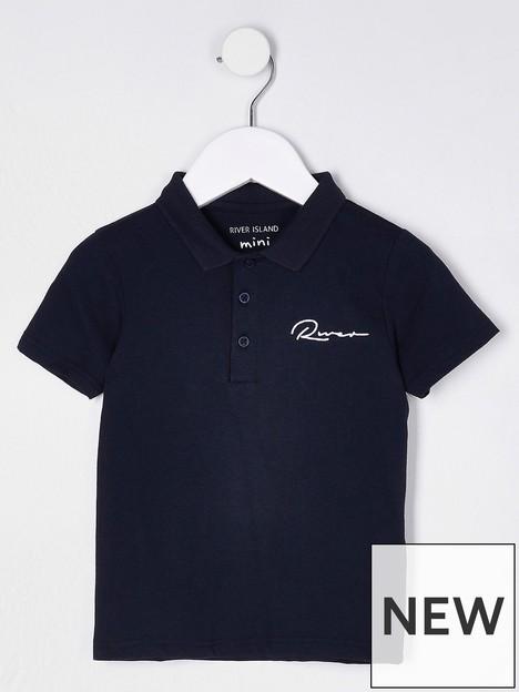 river-island-mini-mini-boys-logo-short-sleeve-polo-navy