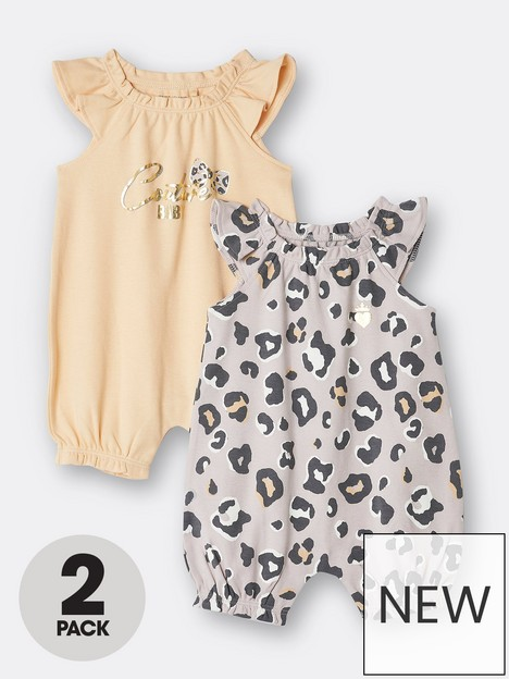 river-island-baby-baby-girls-leopard-2-pack-rompers-yellow