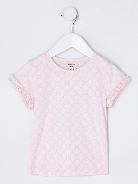 river-island-mini-mini-girls-monogram-frill-sleeve-tshirt-pink