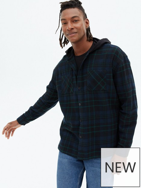 new-look-navy-check-hooded-shirt