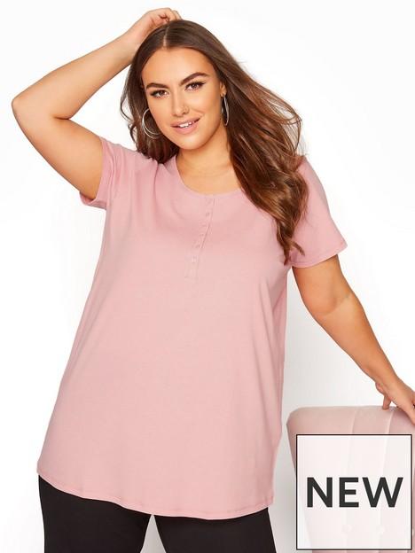 yours-yours-short-sleeve-henley-pyjama-top-pink