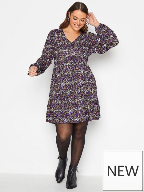 yours-yours-70s-ditsy-floral-v-neck-smock-tunic