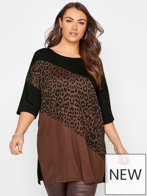 yours-yours-animal-colour-block-oversized-tee-brown