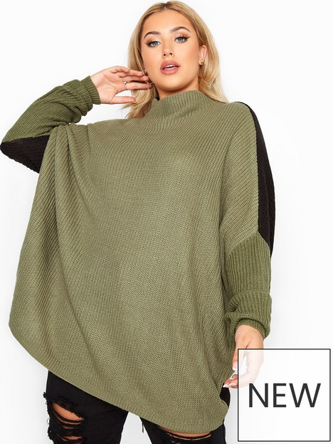 yours-yours-oversize-colour-block-combos-jumper-green