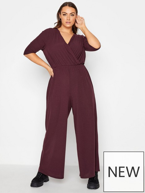 yours-wrap-rib-jumpsuit-berry