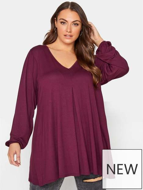 yours-yours-balloon-sleeve-pleat-swing-top-berry