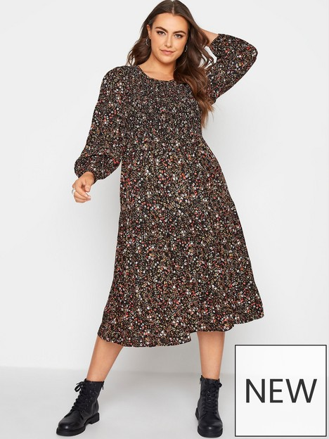 yours-yours-balloon-sleeve-shirred-ditsy-midaxi-dress-black