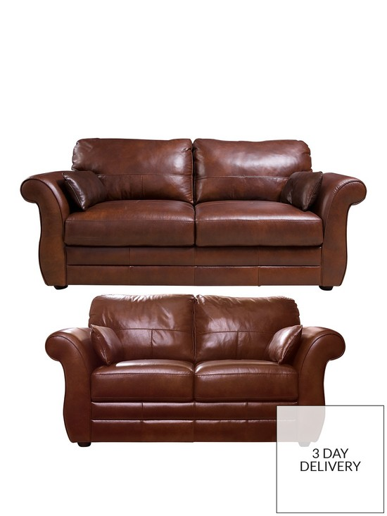 Vantage Italian Leather 3 Seater + 2 Seater Sofa Set (Buy and SAVE ...