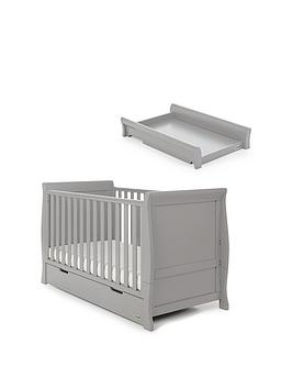 Obaby Stamford Classic Sleigh Cot Bed With Under-Drawer Storage  Cot Top Changer - Warm Grey