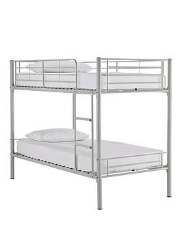 Domino Metal Bunk Bed Frame With Mattress Options - Bunk Bed Frame With 2 Standard Mattresses