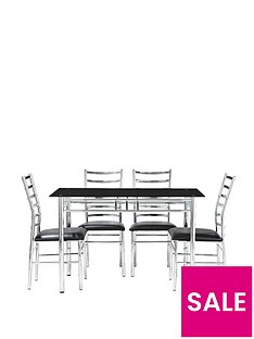 Elect 120 Cm Glass Dining Table 4 Chairs