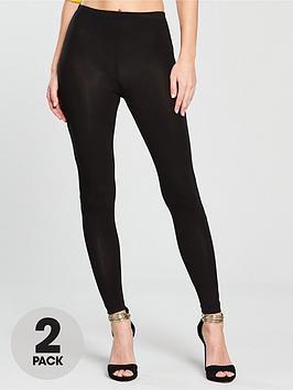 V By Very 2 Pack Leggings - Black