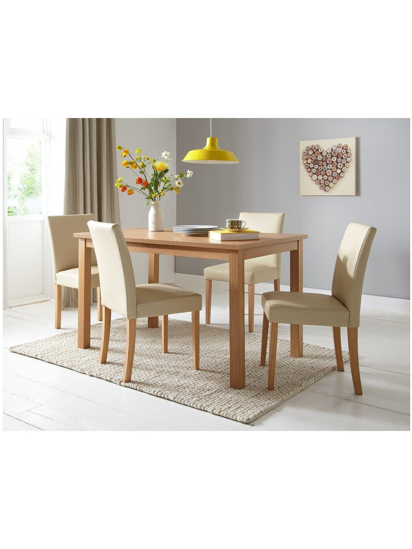 Primo 120 cm Dining Table and 4 Lucca Chairs Set verycouk