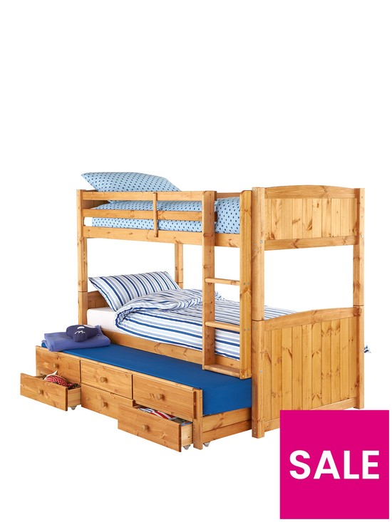 Kidspace Georgie Solid Pine Bunk Bed Frame With Storage And Guest