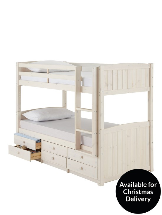 Kidspace Georgie Solid Pine Bunk Bed Frame with Storage | very.co.uk
