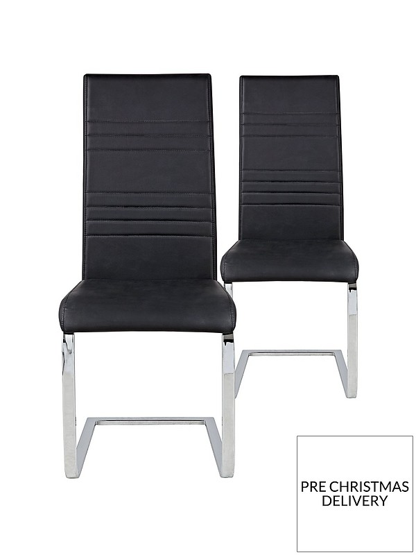 Pleasing Pair Of Jet Faux Leather Cantilever Dining Chairs Black Alphanode Cool Chair Designs And Ideas Alphanodeonline