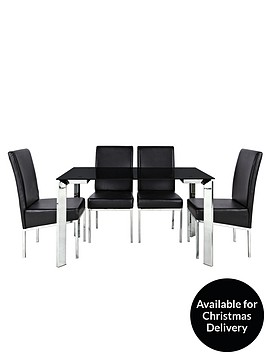 Matrix 122cm Glass Dining Table   4 ChairsDining Table Sets   Dining Tables   6 Chairs   Very co uk. Dining Room Sets Co Uk. Home Design Ideas