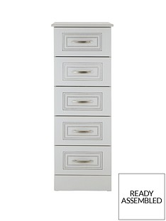 Consort Dorchester Ready Assembled Narrow Chest of 5 Drawers