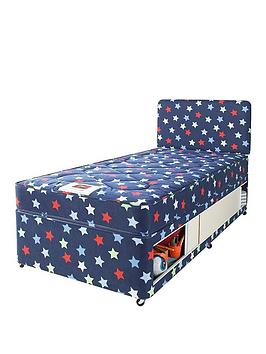 Airsprung kids stars and butterflies single storage divan for Low single divan bed