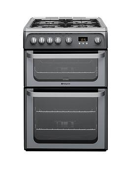 Hotpoint Ultima Hug61G 60Cm Double Oven Gas Cooker With Fsd - Graphite