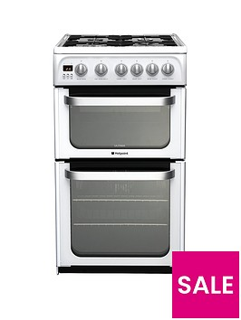 hotpoint-ultima-hug52p-50cm-double-oven-gas-cooker-with-fsd-white