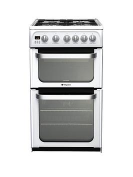 Hotpoint Ultima Hug52P 50Cm Double Oven Gas Cooker With Fsd - White Review thumbnail